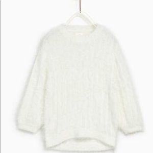 Zara Feather Look Sweater in Ecru